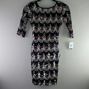 Women's Crystal Doll Sequin Dress XXS NWT